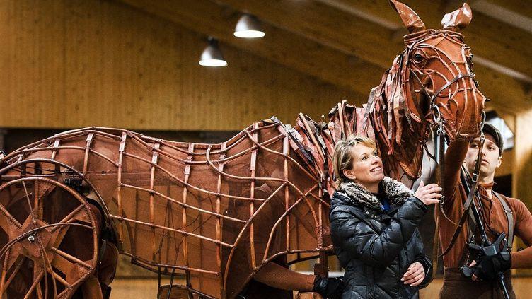 """Marionnette de cheval de la comédie musicale """"War Horse"""" à Erp, aux Pays-Bas, en février 2015  (Remko de Waal / AFP)"""