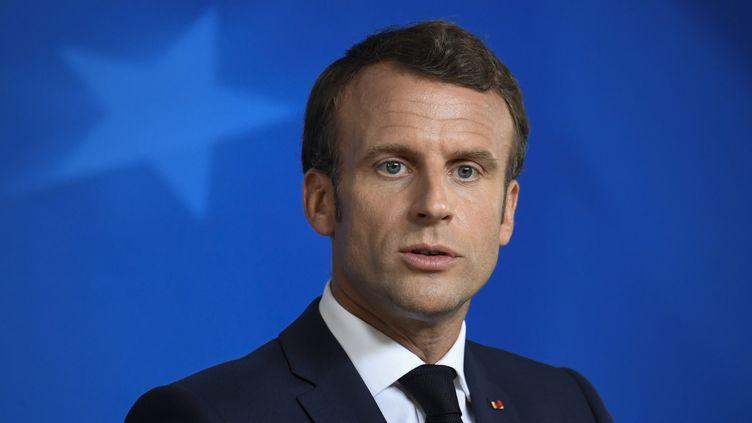 Emmanuel Macron lors d'une conférence de presse à Bruxelles (Belgique), le 2 juillet 2019. (BERTRAND GUAY / AFP)