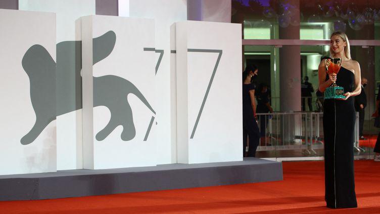 L'actrice Vanessa Kirby lors de l'édition 2020 de la Mostra de Venise. (MATTEO CHINELLATO / NURPHOTO)