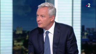 Le ministre de l'Economie, Bruno Le Maire, le 3 septembre 2020, au 20 Heures de France 2. (FRANCE 2)