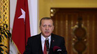 Le président turc, Recep Tayyip Erdogan, lors d'une conférence de presse à Doha (Qatar), le 2 décembre 2015. (EVRIM AYDIN / ANADOLU AGENCY / AFP)