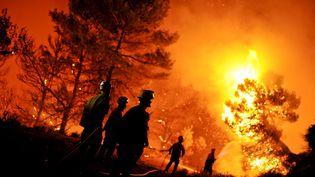 Des pompiers tentent d'éteindre, le 13 août 2012, un incendie qui s'est déclaréà Torre Maçanes, près d'Alicante (Espagne), où l'un d'eux est mort. (PEDRO ARMESTRE / AFP)