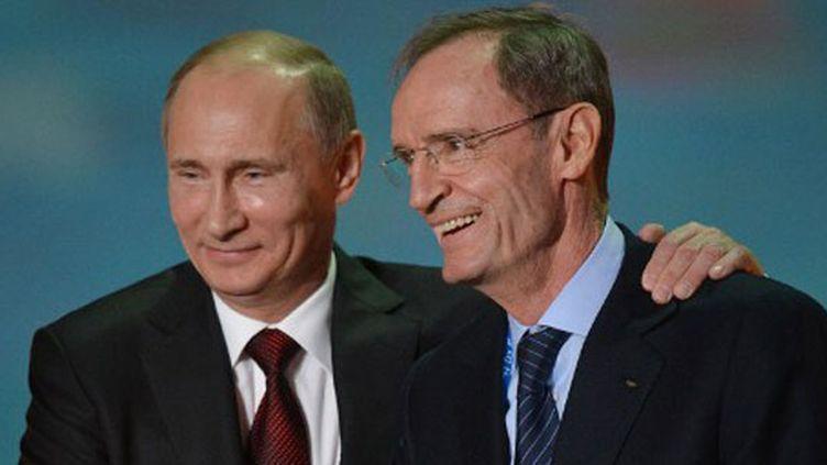 Le président russe Vladimir Poutine et le président de la commission de coordination des JO de Sotchi, Jean-Claude Killy