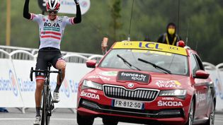 Patrick Konrad (Bora Hansgrohe) a remporté la 16e étape du Tour de France 2021, le 13 juillet. (DAVID STOCKMAN / BELGA MAG / AFP)