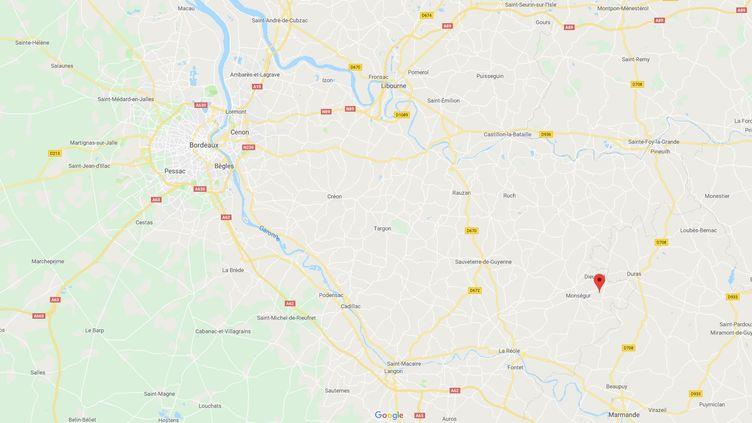 Une vieille dame de 83 ans a réussi à mettre en fuite un cambrioleur qui s'était introduit dans sa maison, àCours-de-Monségur (Gironde). (CAPTURE D'ÉCRAN / GOOGLE MAPS)