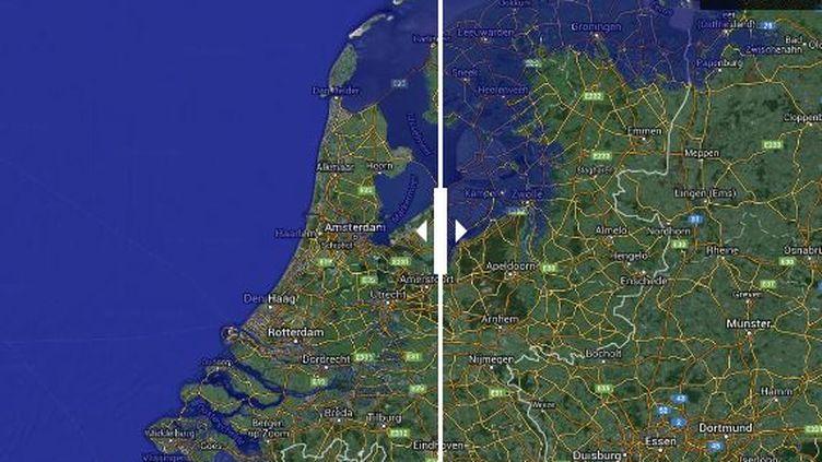 La côte des Pays-Bas menacée en cas de montée des eaux. (JULIE RASPLUS / GOOGLE EARTH)