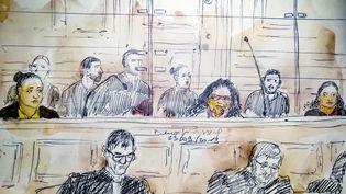 Un dessin d'audience montrant les accusées Ines Madani et Ornella Gilligmann, le 23 septembre 2019, au tribunalde Paris (BENOIT PEYRUCQ / AFP)