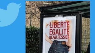 En Loire-Atlantique, dans la ville de Rezé, des affiches publicitaires pour une marque de jeans ont été retirées.Ellesavaient enflammé les réseaux sociaux. (FRANCE 2)