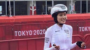 La cycliste afghane Masomah Ali Zada après son contre-la-montre individuel aux Jeux olympiques de Tokyo, le 28 juillet 2021. (FANNY LECHEVESTRIER / RADIO FRANCE)
