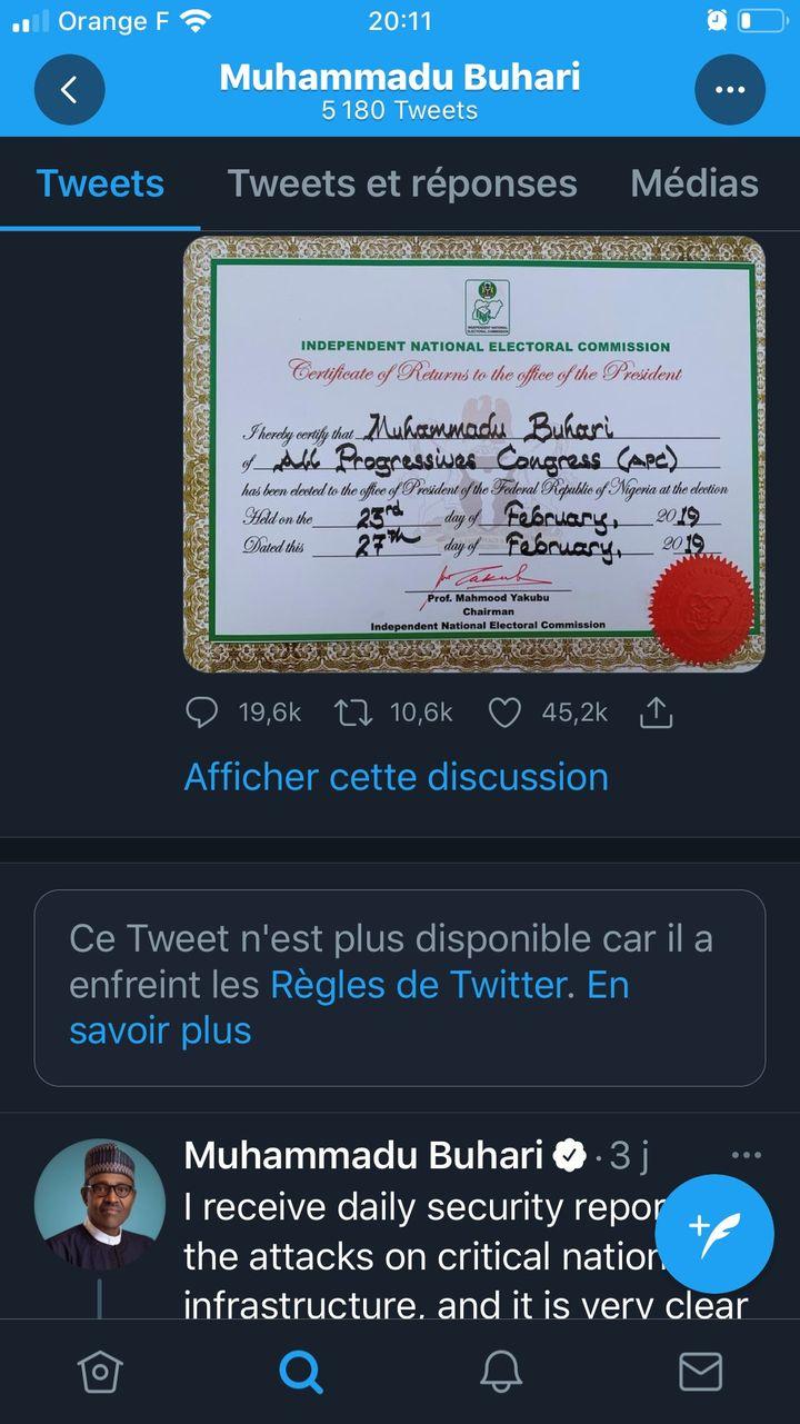 Capture d'écran du compte Twitterdu président nigérian Muhammadu Bukari, effectuée le 4 juin 2021, où l'on voit la trace du tweet supprimé par le réseau social. (CAPTURE D'ECRAN)