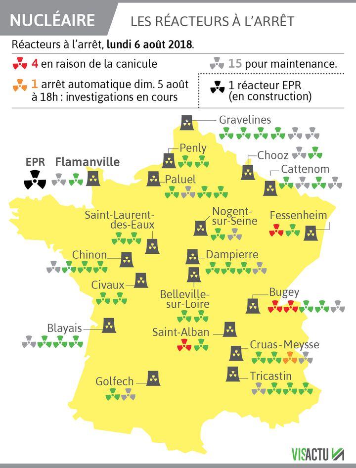 //  Visactu            Vingt réacteurs nucléaires français sont à l'arrêt lundi 6 août, dont 4 à cause de la canicule.          (VISACTU)