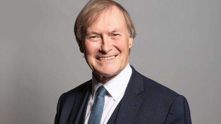 Une photo non datée du député conservateur David Amess posant au Parlement, à Londres (Royaume-Uni). (RICHARD TOWNSHEND / UK PARLIAMENT / AFP)