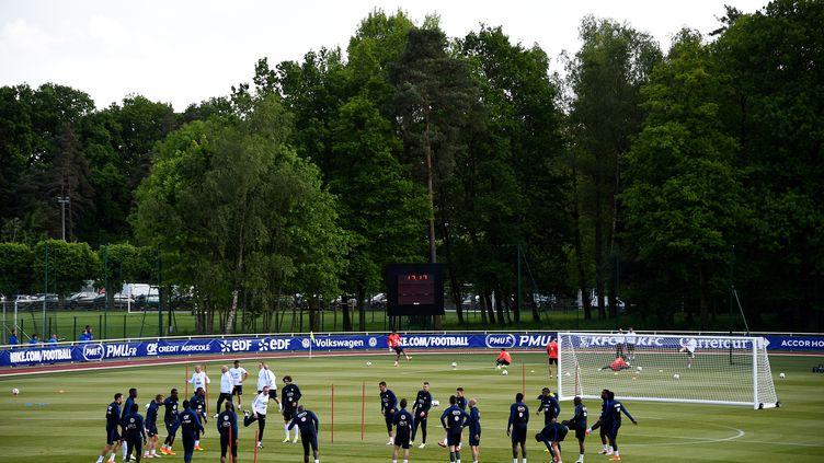 Les joueurs de l'équipe de France à l'entraînement avant l'Euro, le 25 mai 2016, à Clairefontaine (Yvelines). (FRANCK FIFE / AFP)