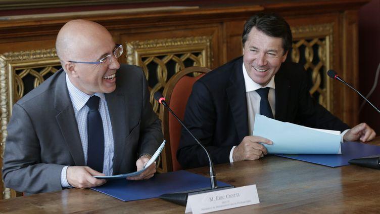 Christian Estrosi et Eric Ciotti, à Nice, le 14 avril 2016. (MAXPPP)