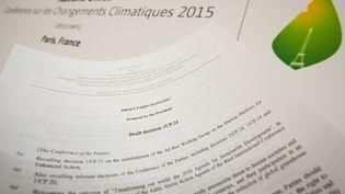 Projet de traité de la COP21, le 10 décembre 2015 à Paris. (Photo d'illustration) (BENOIT DOPPAGNE / BELGA MAG)