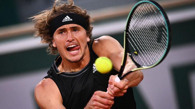 Alexander Zverev a défié Kei Nishikori en huitièmes de finale. (ANNE-CHRISTINE POUJOULAT / AFP)