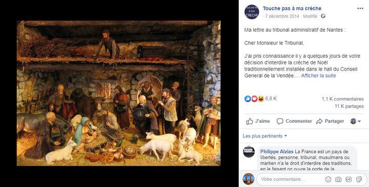 """Post Facebook publiéle 7 décembre2014par la page """"Touche pas ç ma crèche"""". (CAPTURE D'ÉCRAN)"""