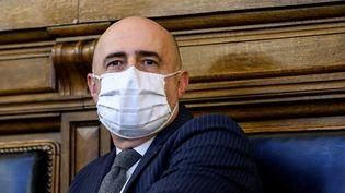 Stéphane Noël, président du tribunal judiciaire de Paris, y siège le 14 janvier 2021. (LUDOVIC MARIN / AFP)