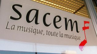 Le logo de la Sacem (Société des auteurs, compositeurs et éditeurs de musique)  (JEAN-PIERRE MULLER / AFP)
