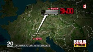 Capture d'écran d'un reportage de France 2 sur le parcours du camion utilisé lors de l'attentat de Berlin. (FRANCE 2)