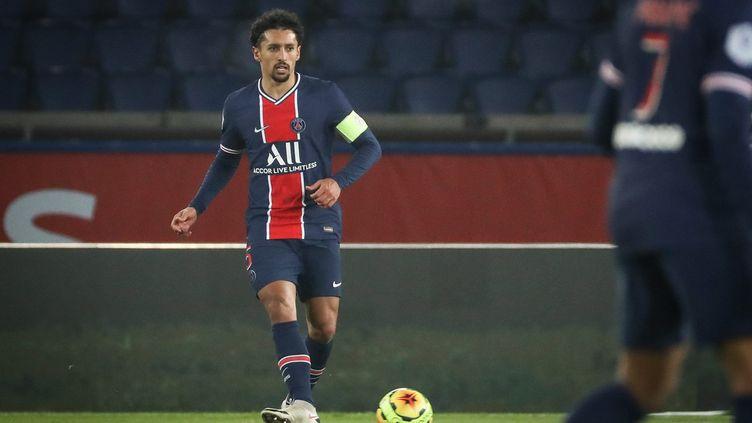 Le capitaine du Paris Saint Germain, le brésilien Marquinhos. (FRED DUGIT / MAXPPP)