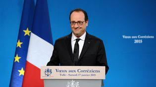 Le président de la République, François Hollande, délivre ses vœux aux Corréziens à Tulle, le 17 janvier 2015. (NICOLAS TUCAT / AFP)