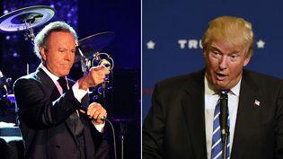 Julio Iglesias en concert le 9 août 2014 à Monaco ; Donald Trump le 3 octobre 2015 à Franklin, Tennessee  (Bruno Bébert / Mark Zaleski / Sipa)