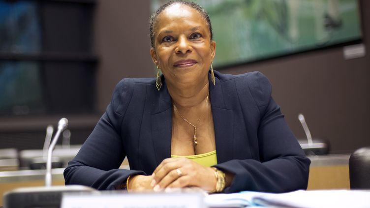 La ministre de la Justice, Christiane Taubira, lors d'une audition de la commission d'enquête parlementaire sur l'affaire Cahuzac, le 16 juillet à l'Assemblée nationale, à Paris. (LIONEL BONAVENTURE / AFP)