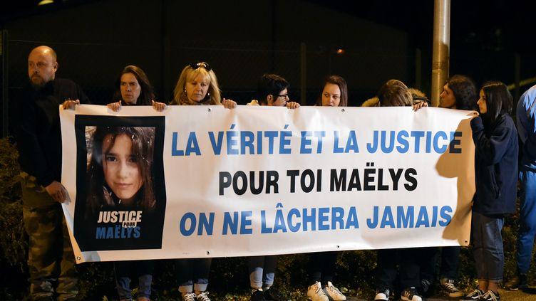 Unemobilisation pourMaëlys de Araujo àPont-de-Beauvoisin (Isère), le 24 septembre 2018. (JEAN-PHILIPPE KSIAZEK / AFP)