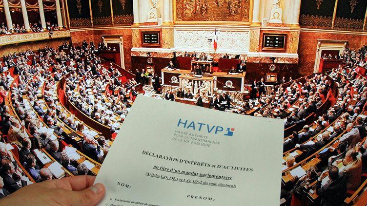 Un formulaire de la HAVP (Haute Autorité pour la transparence de la vie publique), à remplir par les parlementaires afin de dévoiler leur déclaration d'intérêts et activités. (JEAN FRANCOIS FREY / MAXPPP)
