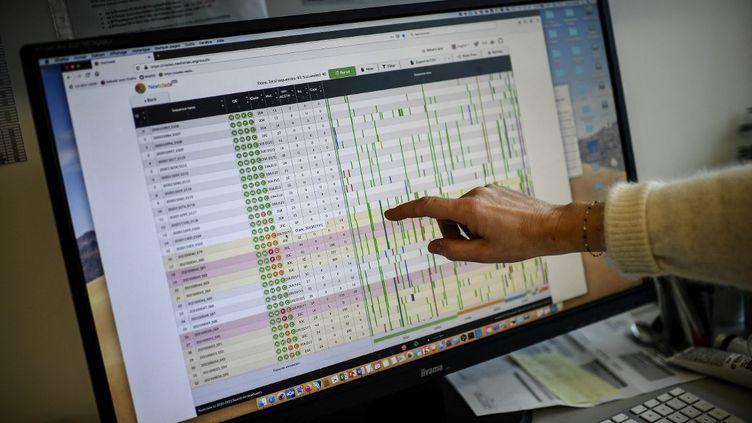 Un écran d'ordinateur affichedes résultats du séquençage du génome du virus SRAS-CoV-2 et de ses variants au Centre national de référence de l'Institut Pasteur à Paris, le 21 janvier 2021. (CHRISTOPHE ARCHAMBAULT / AFP)