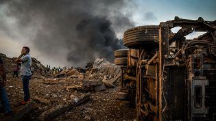 Une vue du port de Beyrouth (Liban), après les explosions du 4 août 2020. (FADEL ITANI / NURPHOTO)