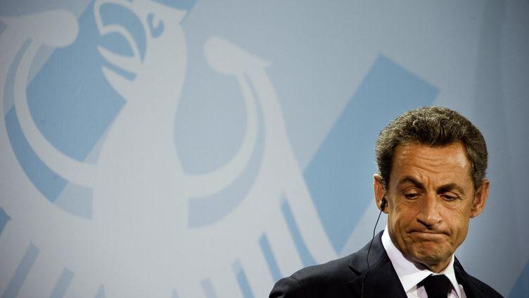 Nicolas Sarkozy à Berlin (Allemagne), à l'issue d'un sommet de la zone euro, le 9 octobre 2011. (ODD ANDERSEN/AFP)