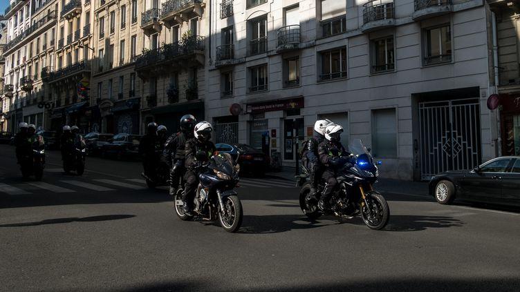 Les brigades de répression de l'action violente motorisées, à Paris, lors de la marche pour le climat, le 21 septembre 2019. (MICHAEL BUNEL / LE PICTORIUM / MAXPPP)