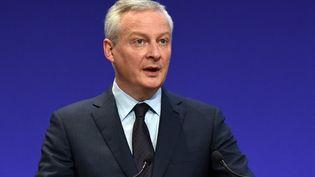 Le ministre de l'Economie, Bruno Le Maire, le 8 avril 2021 lors d'une conférence de presse à Paris. (ERIC PIERMONT / AFP)