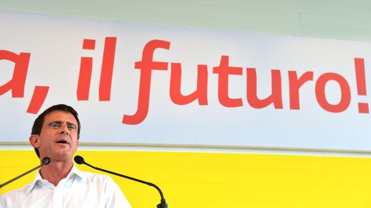 Le Premier ministre Manuel Vallsà la Festa de l'Unita à Bologne, en Italie, dimanche 7 septembre 2014. (VINCENZO PINTO / AFP)