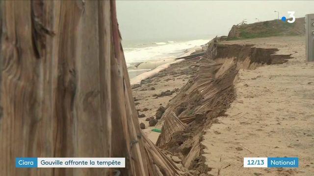 Ciara : la ville de Gouville-sur-Mer affronte la tempête