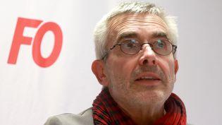 Yves Veyrier lorsd'une conférence de presse après son élection à la têt de FO le 22 novembre 2018. (JACQUES DEMARTHON / AFP)