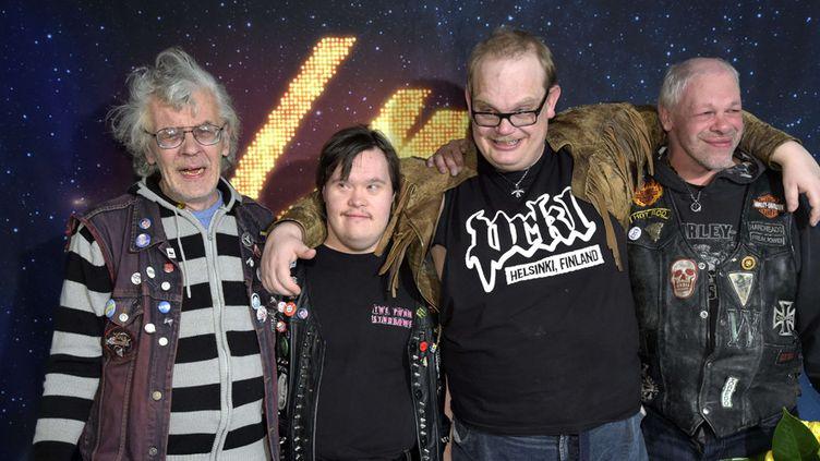 Le groupePKN (Pertti Kurikan Nimipäivät) après sa victoire à l'élection de l'artiste qui représentera la Finlande à l'Eurovision, à Helsinki, le 28 février 2015  (Markku Ulander / AP / Sipa)
