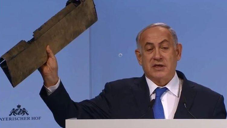 Le Premier ministre israélienBenjamin Netanyahou lors de son discours à Munich (Allemagne), le 18 février 2018. (CAPTURE D'ECRAN / TWITTER)