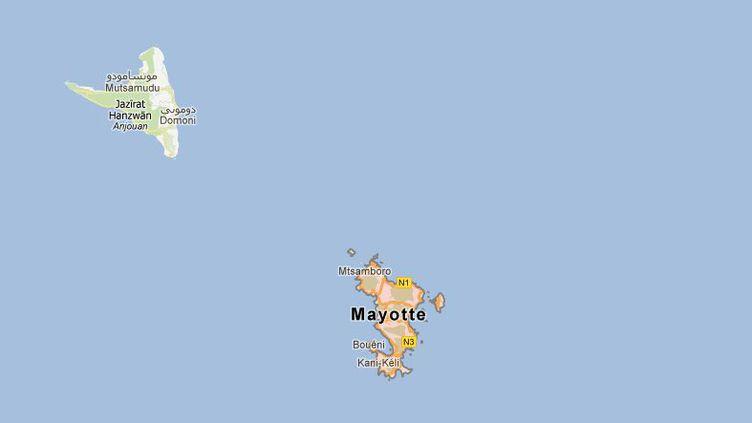 Cinq personnes ont péri et 15 sont portées disparues samedi 19 mai dans le naufrage d'une embarcation venue d'Anjouan, aux Comores, au large de Mayotte. (CAPTURE D'ECRAN GOOGLE MAPS / FTVI)