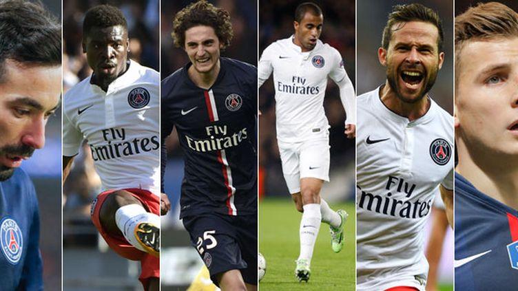 Ezequiel Lavezzi, Serge Aurier, Adrien Rabiot, Lucas, Yohan Cabaye et Lucas Digne, les joueurs du PSG