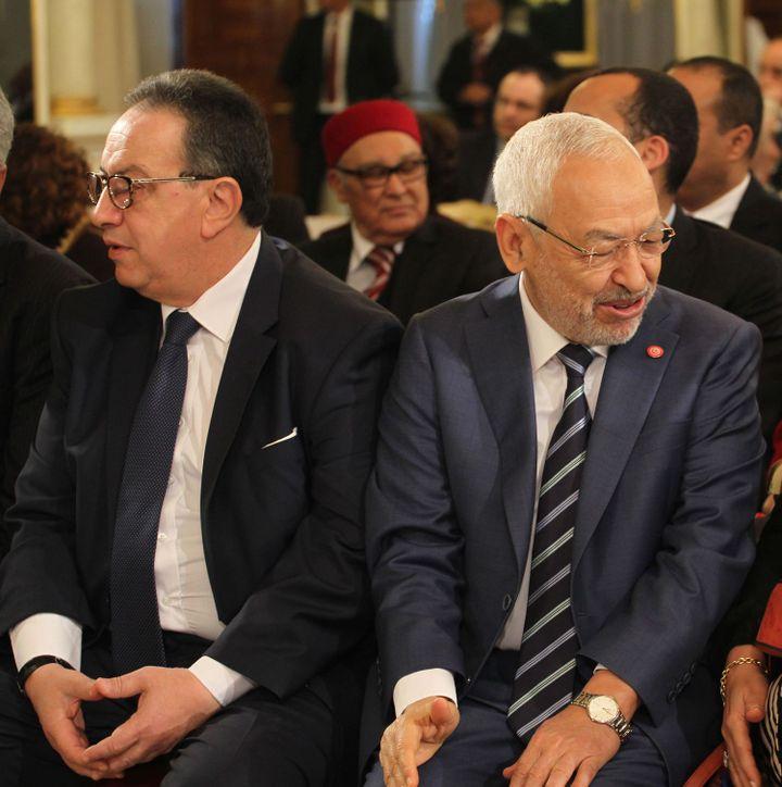 Hafedh Caid Essebsi et Rachef Ghannouchi à Tunis le 20 mars 2018. (Mohamed Hammi/Sipa Press)