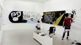 Luz et Fabrizzio Moretti des Strokes galerie Perrotin (Paris)  (Galerie Perrotin)