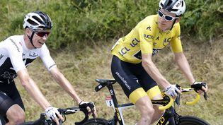 Ch(ris Froome et le maillot jaune, Geraint Thomas, le 20 juillet. (YUZURU SUNADA / BELGA MAG)