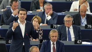 Alexis Tsiprasdevant le Parlement européen, mercredi 8 juillet 2015, à Strasbourg. (VINCENT KESSLER / REUTERS)