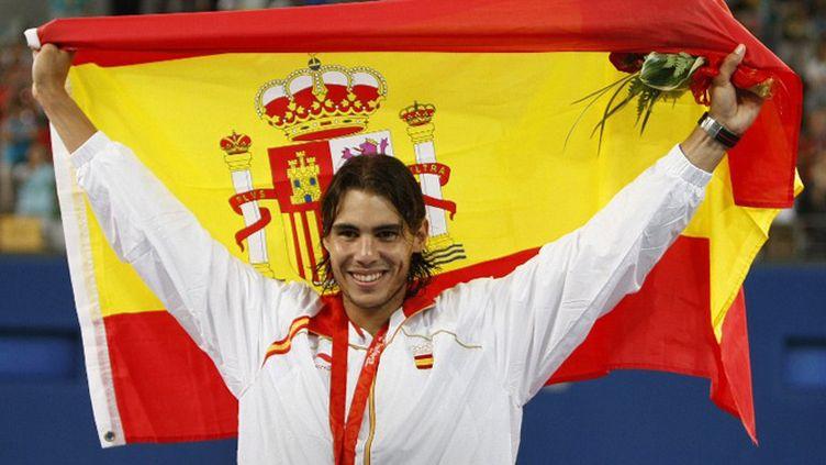 Rafael Nadal lors de sa médaille d'or à Pékin en 2008