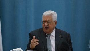 Le présidentde l'Autorité palestinienne,Mahmoud Abbas, lors d'une conférence de presse à Ramallah, en Cisjordanie, le 7 mai 2020. (ISSAM RIMAWI / ANADOLU AGENCY)