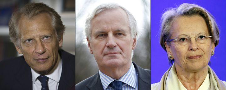 De gauche à droite, Dominique de Villepin (2013), Michel Barnier (2014), Michèle Alliot-Marie (2014) (JOEL SAGET / AFP)