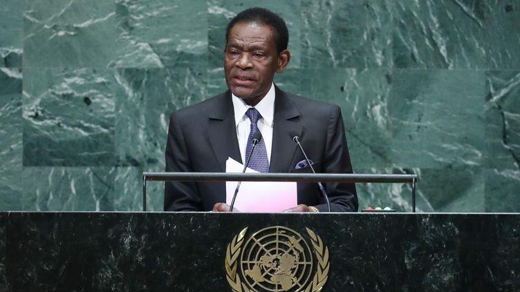 Le président de la Guinée équatoriale, Teodoro Obiang Nguema, à la tribune des Nations Unies à New York, le 27 septembre 2018. (TIMOTHY A. CLARY / AFP)